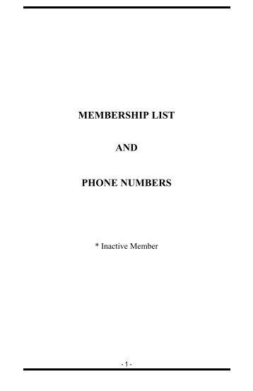 MEMBERSHIP LIST AND PHONE NUMBERS