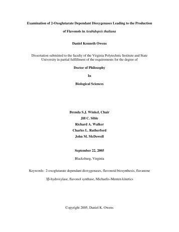 Examination of 2-Oxoglutarate Dependant ... - Virginia Tech
