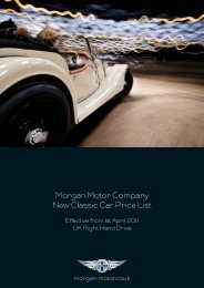 Morgan Motor Company New Classic Car Price List