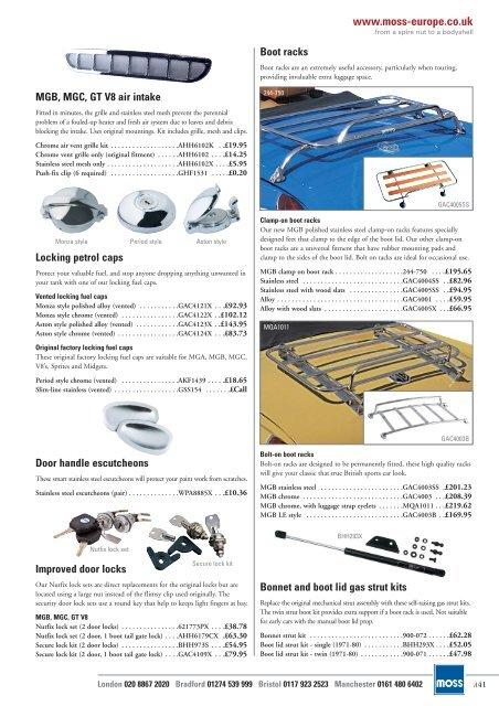 Mgb Tonneau Stick Set Inc Chrome Sockets And Screws