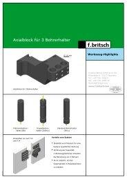 Axialblock für 3 Bohrerhalter - Friedrich Britsch GmbH & Co. KG