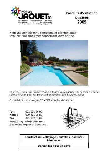 Produits d'entretien piscines 2009 - Droguerie Jaquet