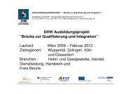 """DHW Ausbildungsprojekt """"Brücke zur Qualifizierung und Integration ..."""