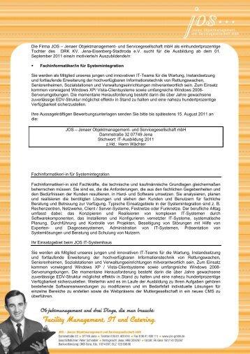 Die Firma JOS - DRK-Kreisverband Jena-Eisenberg-Stadtroda e.V.