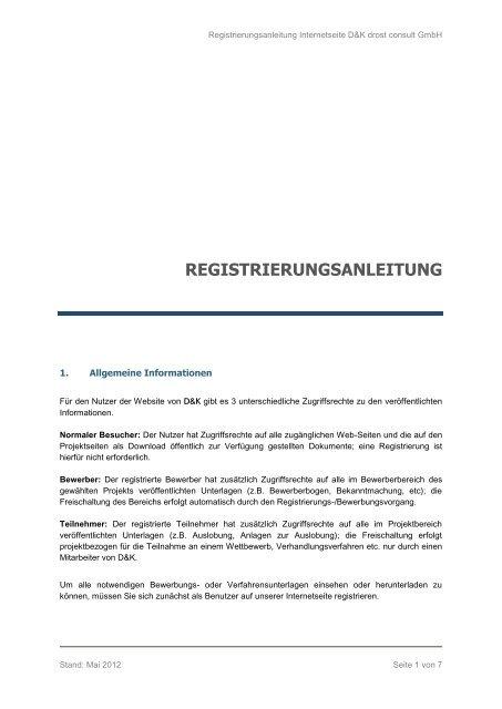 REGISTRIERUNGSANLEITUNG - D&K drost consult