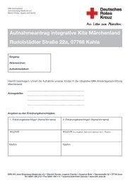 Aufnahmeantrag integrative Kita Märchenland Rudolstädter Straße ...