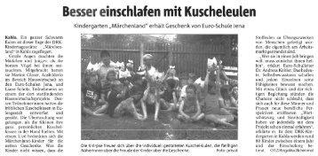 Kuscheleulen für Kindergarten Märchenland in Kahla