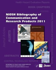 NIOSH Bibliography of Communication and Research Products 2011