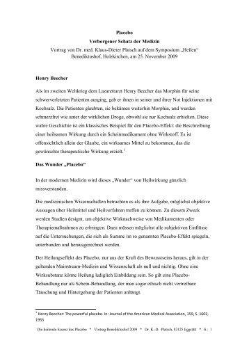 Placebo Verborgener Schatz der Medizin Vortrag von Dr. med ...