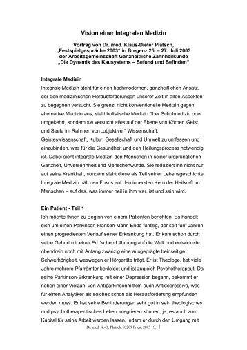Integrale Medizin - Dr. med. Klaus-Dieter Platsch