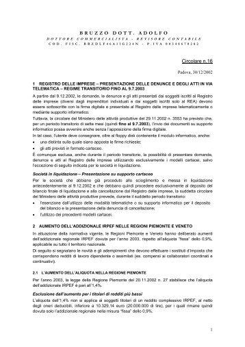 Circolare n.16 BRUZZO DOTT. ADOLFO - Ordine degli Ingegneri ...
