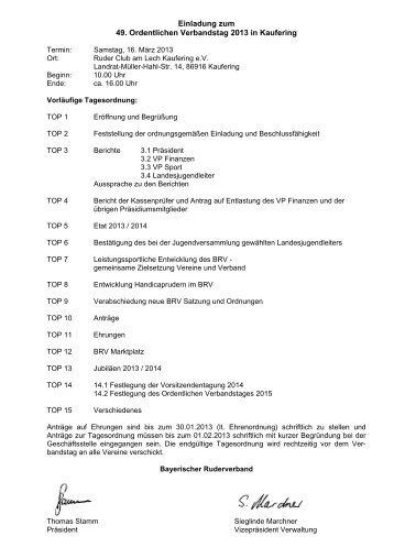 BRV Verbandstag in Kaufering - Bayerischer Ruderverband