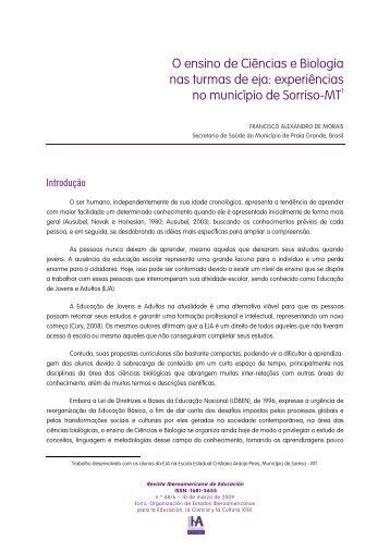 o ensino de ciências e biologia nas turmas do eja - Revista ...