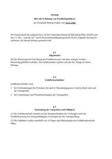Friedhofsgebührensatzung Bruttig-Fankel