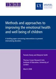 Methods and approaches to improving the emotional health and ...
