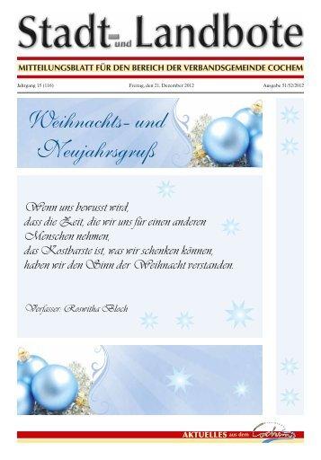 Weihnachts- und Neujahrsgruß - Verbandsgemeinde Cochem