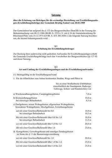 Erschließungsbeitragssatzung Bruttig-Fankel