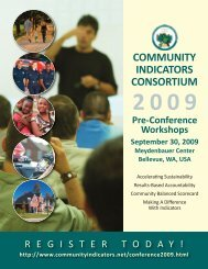 workshop details - Community Indicators Consortium