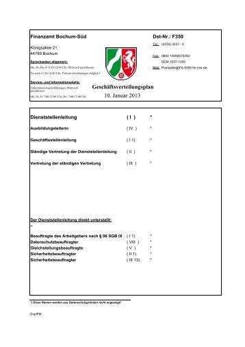Geschäftsverteilungsplan 2. Januar 2013 - Finanzamt Bochum-Süd