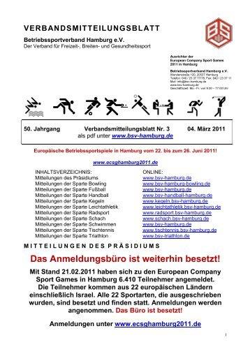 23. Städtevergleich Hamburg - Bremen - Berlin - BSV Hamburg