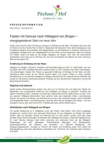 Pressemitteilung Fasten mit Genuss nach ... - Hotel Pirchner Hof
