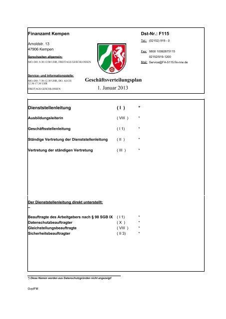 Geschäftsverteilungsplan 1. Januar 2013 - Finanzamt Kempen