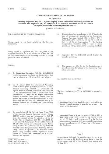 Commission Regulation (EC) No 494/2009 of 3 June ... - EUR-Lex