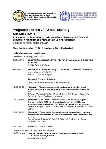 programme scientifique provisoire - Schweizerischen Gesellschaft ...