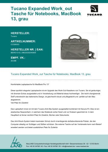 Tucano Expanded Work_out Tasche für Notebooks ... - MacLAND