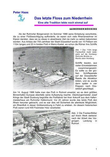 Peter Haas Das letzte Floss zum Niederrhein