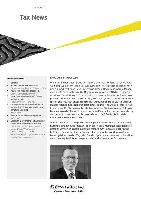 Tax News – Dezember 2009 - Home - Ernst & Young - Schweiz