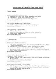 Programmes de l'Ensemble Entre Sable & Ciel - Brest