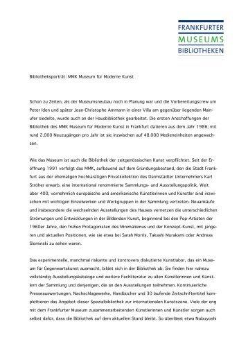 Bibliotheksporträt: MMK Museum für Moderne Kunst Schon zu ...
