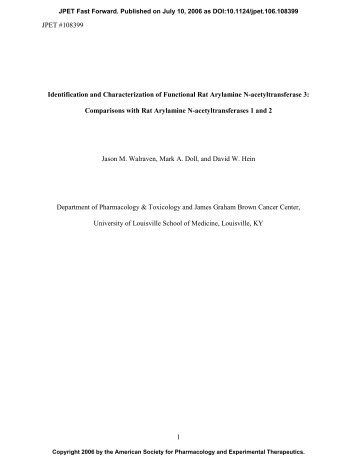 JPET #108399 1 Identification and Characterization of Functional ...