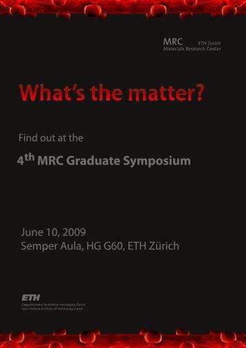 4 MRC Graduate Symposium th - ETH - MRC - ETH Zürich