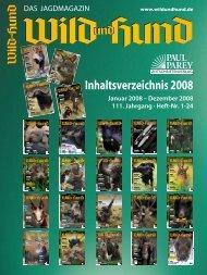 Inhaltsverzeichnis 2008 - Wild und Hund
