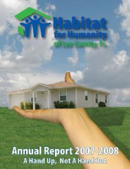 AnnuAl RepoRt 2007-2008 | 1 - Habitat for Humanity