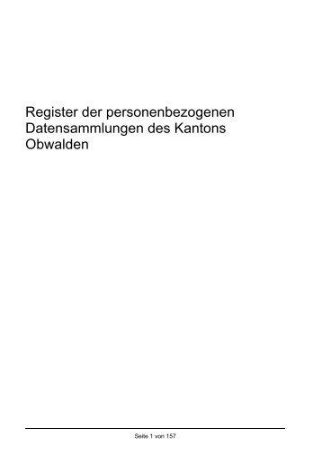 Register der Datensammlungen der kantonalen Verwaltungsstellen ...