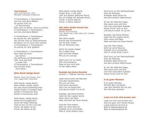 Weihnachtslieder Kurz.Tannenbaum Text Ernst An