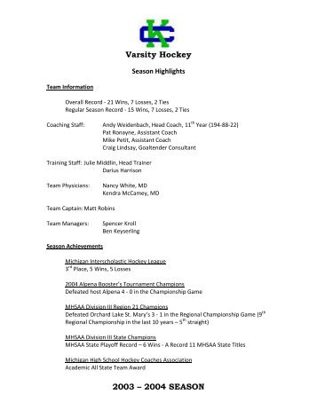 Varsity Hockey 2003 – 2004 SEASON - Pointstreak Sites | Michigan ...