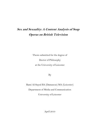 Chapter 4 Sexual Content in Soap Operas - Leicester Research ...