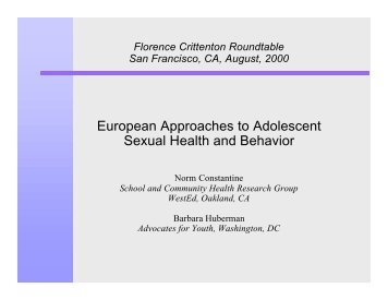 European Approaches to Adolescent Sexual Health and Behavior