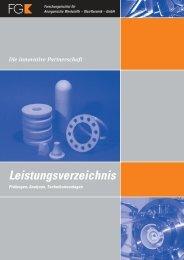 Leistungsverzeichnis - Forschungsinstitut für Anorganische ...
