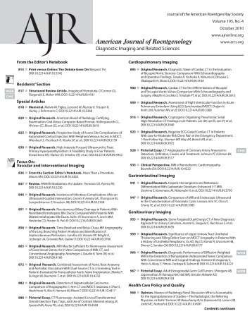 TOC (PDF) - American Journal of Roentgenology