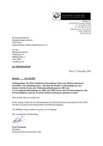 Stellungnahme im Rahmen des ... - Österreichischer Journalisten Club