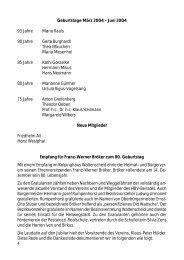 Geburtstage März 2004 - Juni 2004 Empfang für Franz