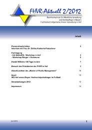 FHVR-Aktuell 2/2012 - Bayerische Beamtenfachhochschule Hof