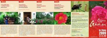 Offene Gärten in Unna 2009 (pdf, 5 MB - Bürgerstiftung Unna
