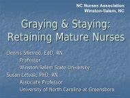 Graying & Staying - North Carolina Nurses Association