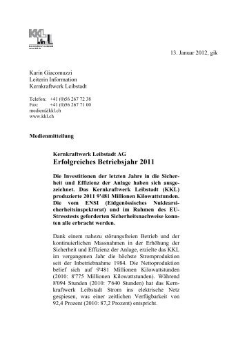 Erfolgreiches Betriebsjahr 2011 - Kernkraftwerk Leibstadt AG